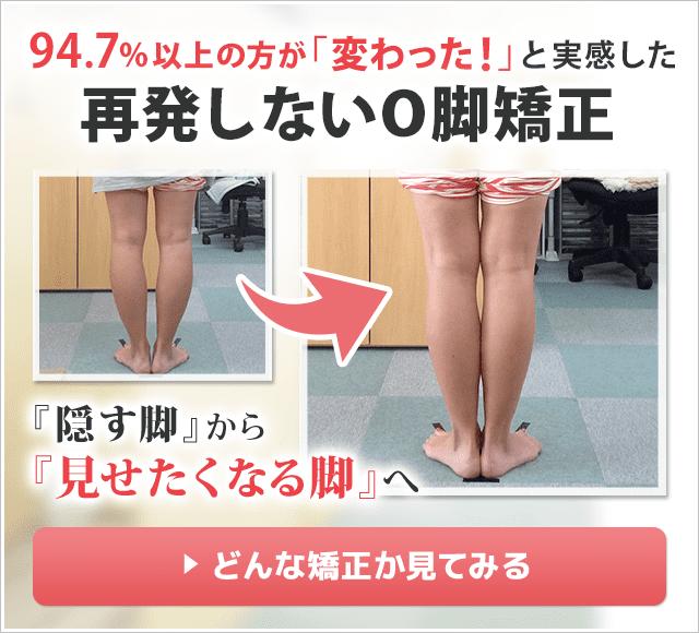94.7%以上の方が「変わった!」と実感した再発しないO脚矯正