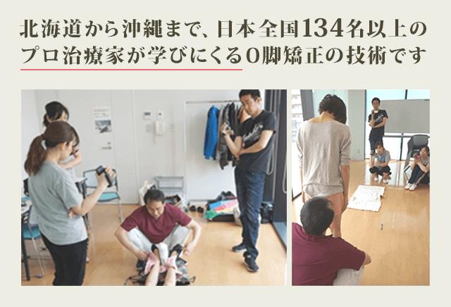 北海道から沖縄まで、日本全国134名以上の プロ治療家が学びにくるO脚矯正の技術です